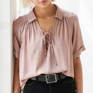 Urban Outfitters Ecoté Pink Lace-Up Top